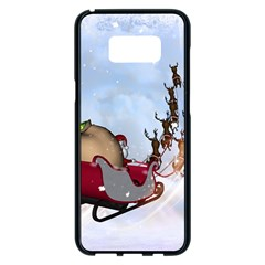 Christmas, Santa Claus With Reindeer Samsung Galaxy S8 Plus Black Seamless Case by FantasyWorld7