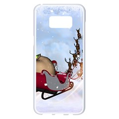 Christmas, Santa Claus With Reindeer Samsung Galaxy S8 Plus White Seamless Case by FantasyWorld7