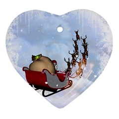 Christmas, Santa Claus With Reindeer Ornament (heart) by FantasyWorld7