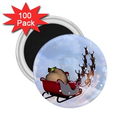 Christmas, Santa Claus With Reindeer 2 25  Magnets (100 Pack)  by FantasyWorld7