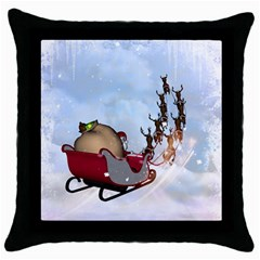 Christmas, Santa Claus With Reindeer Throw Pillow Case (black) by FantasyWorld7
