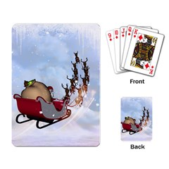 Christmas, Santa Claus With Reindeer Playing Card by FantasyWorld7
