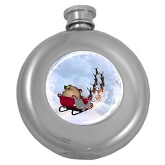 Christmas, Santa Claus With Reindeer Round Hip Flask (5 Oz) by FantasyWorld7