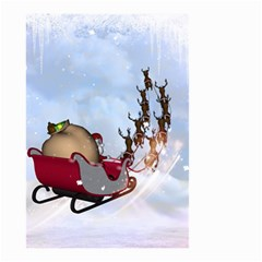 Christmas, Santa Claus With Reindeer Small Garden Flag (two Sides) by FantasyWorld7