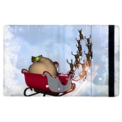 Christmas, Santa Claus With Reindeer Apple Ipad 2 Flip Case by FantasyWorld7
