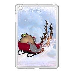 Christmas, Santa Claus With Reindeer Apple Ipad Mini Case (white) by FantasyWorld7