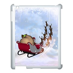 Christmas, Santa Claus With Reindeer Apple Ipad 3/4 Case (white)