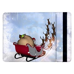 Christmas, Santa Claus With Reindeer Samsung Galaxy Tab Pro 12 2  Flip Case by FantasyWorld7