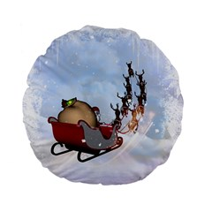 Christmas, Santa Claus With Reindeer Standard 15  Premium Flano Round Cushions by FantasyWorld7