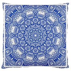 Blue Mandala Art Pattern Large Cushion Case (one Side) by paulaoliveiradesign