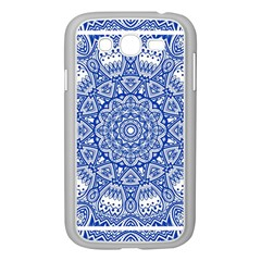 Blue Mandala Art Pattern Samsung Galaxy Grand Duos I9082 Case (white) by paulaoliveiradesign