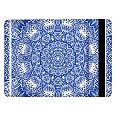 Blue Mandala Art Pattern Samsung Galaxy Tab Pro 12 2  Flip Case by paulaoliveiradesign
