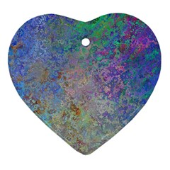 Colorful Pattern Blue And Purple Colormix Heart Ornament (two Sides) by paulaoliveiradesign
