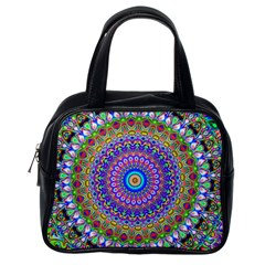 Colorful Purple Green Mandala Pattern Classic Handbags (one Side) by paulaoliveiradesign