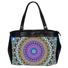 Colorful Purple Green Mandala Pattern Office Handbags (2 Sides)  by paulaoliveiradesign