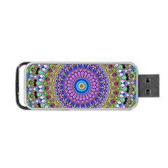 Colorful Purple Green Mandala Pattern Portable Usb Flash (two Sides) by paulaoliveiradesign