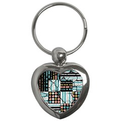 Distressed Pattern Key Chains (heart)  by linceazul