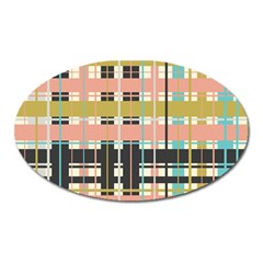 Plaid Pattern Oval Magnet