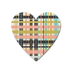 Plaid Pattern Heart Magnet by linceazul