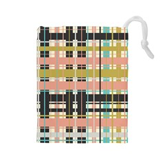 Plaid Pattern Drawstring Pouches (large)  by linceazul
