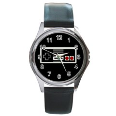 Video Game Controller 80s Round Metal Watch