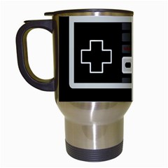 Video Game Controller 80s Travel Mugs (white) by Valentinaart
