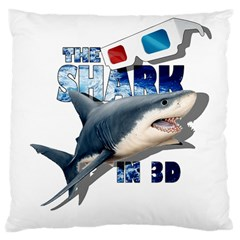 The Shark Movie Large Cushion Case (one Side) by Valentinaart