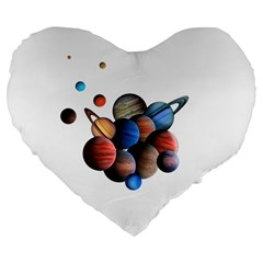 Planets  Large 19  Premium Flano Heart Shape Cushions by Valentinaart
