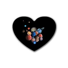 Planets  Heart Coaster (4 Pack)  by Valentinaart