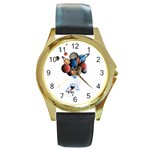 Planets  Round Gold Metal Watch Front