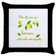 When Life Gives You Lemons Throw Pillow Case (black) by Valentinaart