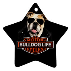 Bulldog Biker Star Ornament (two Sides) by Valentinaart