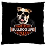 Bulldog biker Large Cushion Case (Two Sides) Front