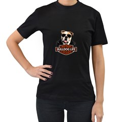 Bulldog Biker Women s T Shirt (black)