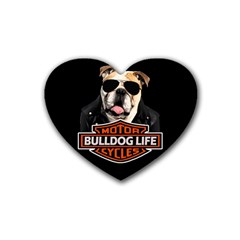 Bulldog Biker Rubber Coaster (heart)  by Valentinaart