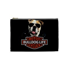 Bulldog Biker Cosmetic Bag (medium)  by Valentinaart