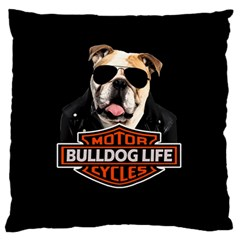 Bulldog Biker Large Flano Cushion Case (two Sides)