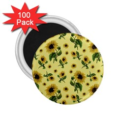 Sunflowers Pattern 2 25  Magnets (100 Pack)  by Valentinaart