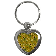 Sunflowers Pattern Key Chains (heart)  by Valentinaart