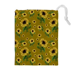 Sunflowers Pattern Drawstring Pouches (extra Large) by Valentinaart