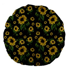 Sunflowers Pattern Large 18  Premium Flano Round Cushions by Valentinaart