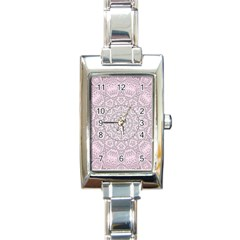 Pink Mandala art  Rectangle Italian Charm Watch
