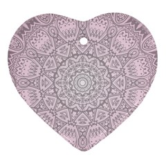 Pink Mandala Art  Ornament (heart) by paulaoliveiradesign