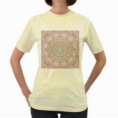 Pink Mandala art  Women s Yellow T-Shirt