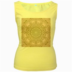 Pink Mandala art  Women s Yellow Tank Top