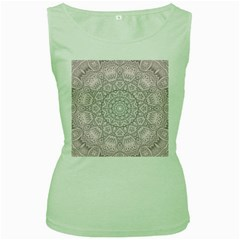 Pink Mandala art  Women s Green Tank Top