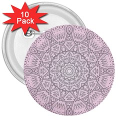 Pink Mandala art  3  Buttons (10 pack)