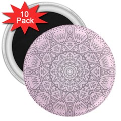 Pink Mandala art  3  Magnets (10 pack)