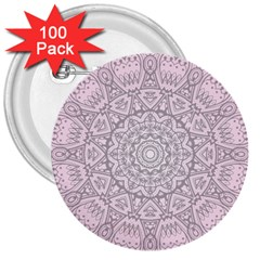 Pink Mandala art  3  Buttons (100 pack)