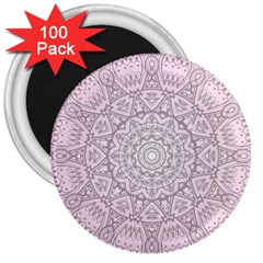Pink Mandala art  3  Magnets (100 pack)